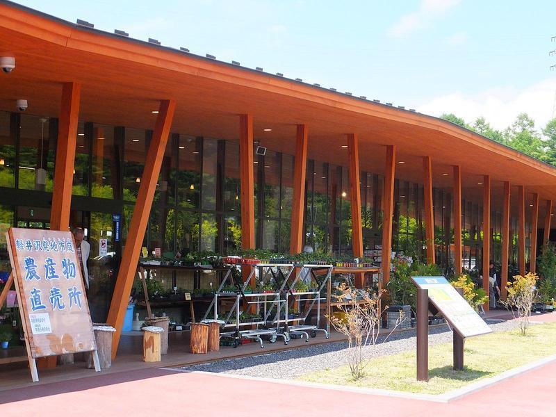 地元の新鮮な野菜や、軽井沢のお土産もこの発地市庭で購入できます。約7.4kmほど。