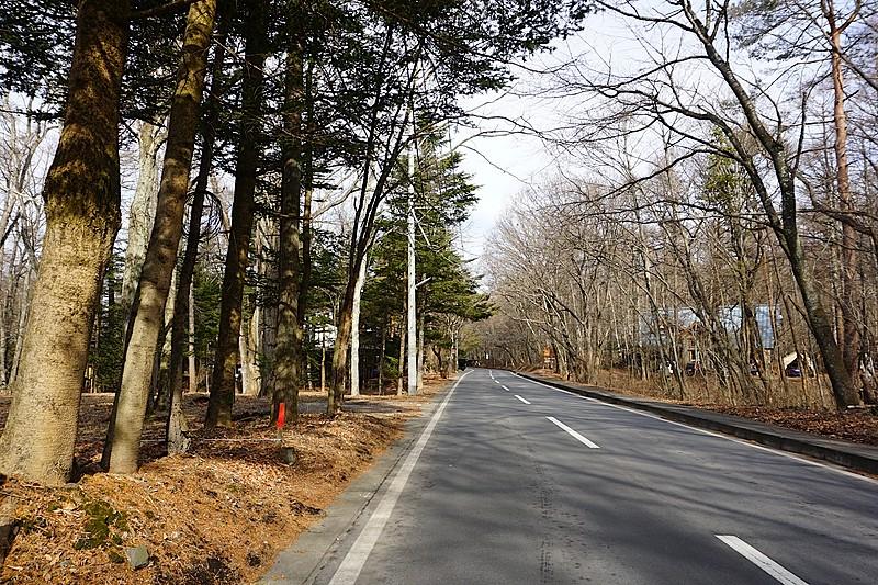 グルメ通りを北に望む。この先は軽井沢中学校のなります。